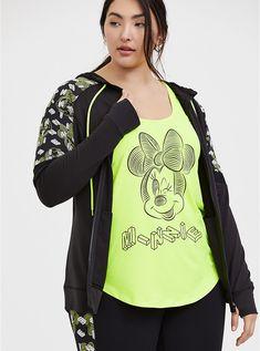 Disney Minnie Mouse Black & Neon Yellow Active Zip Hoodie, DEEP BLACK Camo Hoodie, Grey Sweatshirt, Cropped Hoodie, Zip Hoodie, Yellow Stripes, Neon Yellow, Embroidered Bomber Jacket, Black Neon, Matches Fashion
