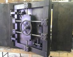 is proud to bring you the most unique home ,office and bar and restaurant decor you can find ! Here, we are showing a vault door and face that… Industrial Lockers, Industrial Furniture, Industrial Style, Industrial House, Safe Door, Safe Vault, Vault Doors, Gun Rooms, Antique Safe