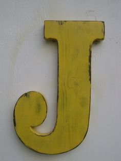 yellow accents for nursery | ... shabby chic wooden letters nursery decor -painted butter cream yellow.  Baby James!