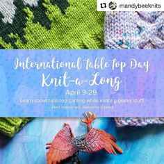 Attention gamers: this cool KAL might be for you!  #Repost @mandybeeknits with @repostapp  International TableTop Day is April 29! To celebrate I thought I'd host a little KAL from April 9-29. I'll be sharing some of my favorite games throughout the next