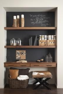52 super Ideas home office nook in kitchen shelves Home Office Space, House Design, Home And Living, Decor, House Interior, Furniture, Interior, Home Office Decor, Home Decor