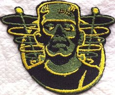 """Amazon.com: [Single Count] Custom and Unique (4.7"""" x 4"""" Inch) """"Halloween"""" Large Retro Old School Creepy Frankenstein Monster Iron On Embroidered Applique Patch {Green, Yellow, & Black Colors}"""