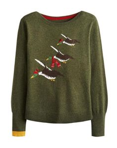Joules null Womens Intarsia Jumper, Christmas Ducks.                     Crafted for a super-soft feel and adorned with a cool animal intarsia that is guaranteed to raise a smile whenever it makes an appearance, this jumper is great to add a bit of character to your wardrobe.