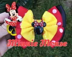 Large Minnie Mouse Disney Red and Black Double Leyered Pinwheel Hair Bow Large Hair Bows, Ribbon Hair Bows, Diy Hair Bows, Diy Bow, Bow Hair Clips, Minnie Bow, Mickey Mouse, Candy Hair, Handmade Hair Bows