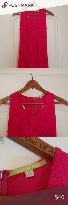 Hot pink body con lace dress Never worn, curve hugging, great date night dress Gianni Bini Dresses Mini