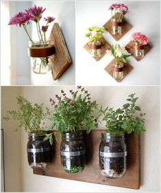 Plants and flowers symbolize life and vitality and you can add their positive energy to your home's interior by making one or more indoor planters. Indoor Plant Shelves, Indoor Planters, Diy Planters, Planter Ideas, Indoor Garden, Living Wall Planter, Diy Wall Planter, Indoor Plants Low Light, Succulents Diy
