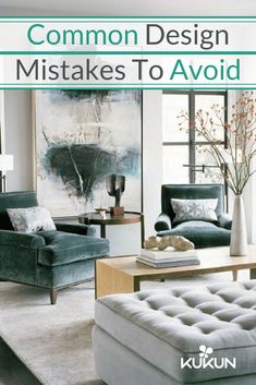 """To avoid the """"floating furnishing"""" effect that come with lots of small, disparate pieces, use bigger statement pieces, like large pieces of art, or rugs which help pull the whole space together! Check out more design mistakes to avoid in our article! [Contemporary Living Room, Contemporary Design Ideas, Contemporary Living Room Ideas, Large Artwork, Modern Coffee Table, Interior Design Mistakes To Avoid, Common Design Mistakes, Green Velvet Armchair]"""