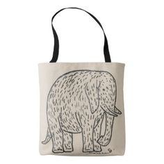 Adorable black and white drawing of elephant, cute tote bag