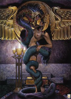 In the start of time, splendor appeared... It was the Mother. She was all that was. She divided the sky from the sea and danced upon the waves. She rubbed the wind between Her hands, it became the Great Serpent. She took him to Her and loved him...  Art by Stephen Hickman