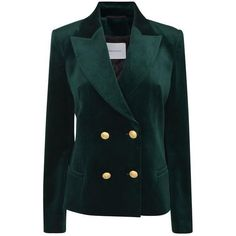 Pierre Balmain Velvet Blazer ($955) ❤ liked on Polyvore featuring outerwear, jackets, blazers, balmain, coats, green, green blazers, formal jackets, green velvet jacket and green velvet blazer