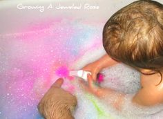 bubble bath time painting fun   The original Poster/Pinner recommends Colorations liquid watercolors:... if you don't have that use ~Food coloring (purchased from The Dollar Tree) Spray bottles half filled with water.  Then fill with color... go.
