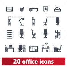 Office Furniture Icons - Man-made objects Objects