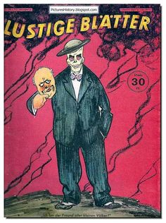 """Lustige Blätter, Germany. """"I am a friend of all small countries."""" Churchill takes of his mask. Cartoon transparently hints - the British love to fight by proxy."""