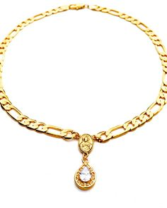 Figaro Chain Rosary Crystal Drop Necklace