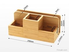 Desk Stationery Organiser - Pen Pencil Letter Rack Holder, Made of Natural Bamboo Wood: Amazon.co.uk: Office Products