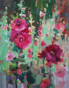 Twin Bloom Hollyhocks, painting by artist Mary Maxam