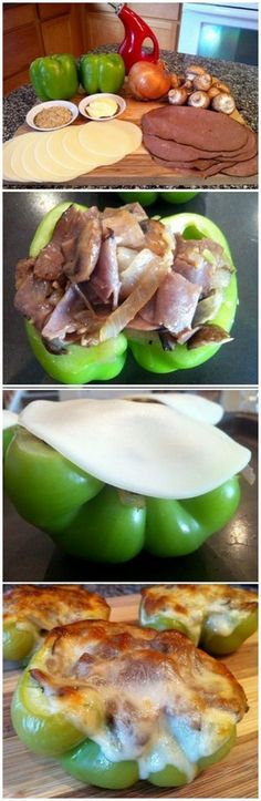 Philly Cheesesteak Stuffed Peppers, * this would be good using leftover Tritip or roast