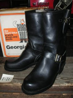 1970'S DEADSTOCK GEORGIA ENGINEER BOOTS SZ/9E - ROCK-A-HULA