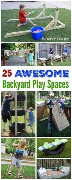 The Best Backyard DIY Projects for Your Outdoor Play Space Build outdoor toys climbing structures sand and water play and more! The post The Best Backyard DIY Projects for Your Outdoor Play Space Build outdoor toys appeared first on diy. Backyard Play Spaces, Outdoor Play Spaces, Backyard Playground, Backyard For Kids, Diy For Kids, Playground Ideas, Garden Kids, Backyard House, Kids Yard