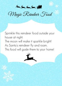 Magic Reindeer Food Free Printable-single of 4 page printout! Perfect for home or a class! and recipe
