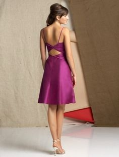 A-line Straps Elastic Woven Satin Short Fuchsia Bridesmaid Dress / Cocktail Dress / Homecoming Dress