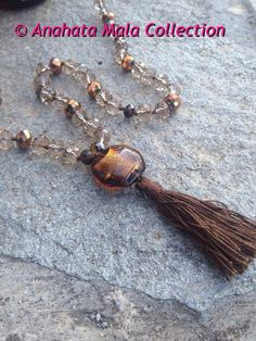 Brown Copper Crystal Mala by AnahataMalas on Etsy, €40.00