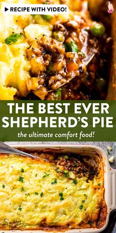 easy comfort food Homemade shepherd's pie is the ultimate comfort food. This simple recipe is made completely from scratch like the traditional, but uses ground beef instead of lamb f Easy Pie Recipes, Meat Recipes, Cooking Recipes, Delicious Recipes, Easy Comfort Food Recipes, Dinner Recipes, Quiche Recipes, Crockpot Recipes, Beef Dishes
