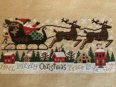 completed finished cross stitch Prairie Schooler Christmas Santa On The Slay Everything Cross Stitch, Cross Stitch Collection, Types Of Embroidery, Stitch 2, Christmas Cross, Cross Stitching, Slay, Needlework, Crafting