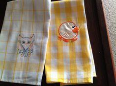 Samples on tea towels