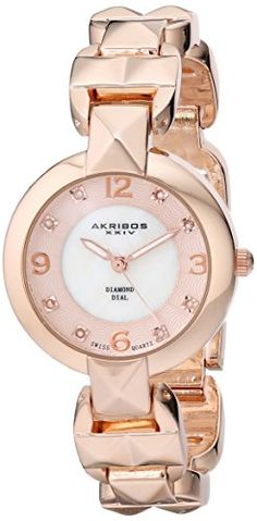 """Akribos XXIV Women's AK755RG """"Lady Diamond"""" Rose Gold-Tone Watch - Keep to the forefront of fashion with this attractively designed women's Akribos XXIV watch. Diamond markers are displayed on the mother of pearl dial. The timepiece features a pyramid cut bracelet creating an edgy design that adds class in every occasion."""