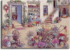 ART ~Janet Kruskamp:  Courtyard Flower Shoppe