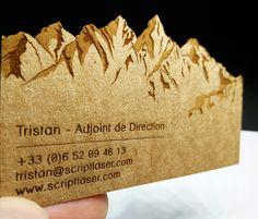 Laser engraving and cut on kraftpak 307gsm business cards