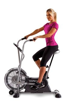 Marcy AIR 1 Fan Bike. Fan exercise bike with pair of dual-action exercise arms. Built-in fan provides resistance while keeping you cool. Built-in computer tracks your speed, time, distance, and calories. Adjustable, high-density foam seat; foam-covered handlebars. Transport wheels for easy mobility; 2-year warranty.