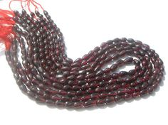 Garnet Smooth Drops Semi Precious Gemstone Beads by beadsogemstone, $12.00