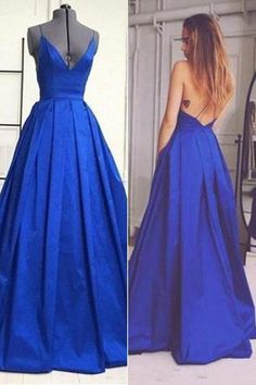 Open Back Prom Dresses,Charming V-neck Prom Gowns,Spaghetti Straps Prom Dress,A-Line Royal Blue Evening Dresses,Sexy Sleeveless Long Formal Dress,N107