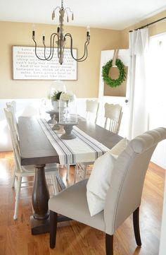 Modern Farmhouse Dining Room Makeover. Beautiful dining room makeover full of vintage farmhouse charm!
