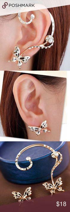 Butterfly Ear Stud Earrings Romantic fashion earrings. Material: alloy and glass. Jewelry Earrings