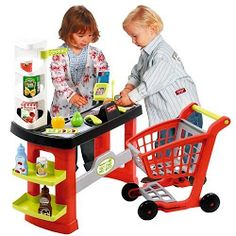 Shop with shopping cart and lots of accessories. Kids Wagon, Credit Card Readers, Play Money, Plastic Laundry Basket, Baby Items, Baby Animals, Baby Strollers, Children, Shopping