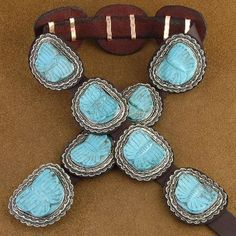 Carved Turquoise Butterfly Concho Belt