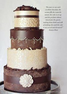 Chocolate Wedding Cakes | elegant chocolate wedding cake by Kanya Hunt
