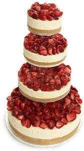 3 Tier Strawberry Vanilla Cheesecake, the english cheesecake company - love this idea for wedding cake and dessert combined! Unusual Wedding Cakes, Cool Wedding Cakes, Wedding Donuts, Wedding Strawberries, Strawberries And Cream, Strawberry Wedding, Strawberry Champagne, English Cheesecake Company, Beautiful Cakes