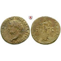 Römische Kaiserzeit, Titus, Sesterz 80, ss+/vz: Titus 79-81. Messing-Sesterz 32 mm 80 Rom. Kopf l. mit Lorbeerkranz IMP T CAES VESP… #coins