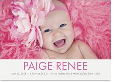 Pink Girl Border Photo Birth Announcement