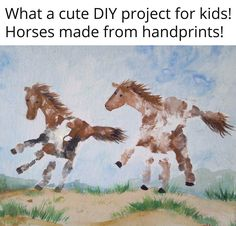 of The BEST Hand and Footprint Art Ideas! Kids crafts with homemade cards, canvas, art, paintings, keepsakes using hand and foot prints! Baby Crafts, Toddler Crafts, Preschool Crafts, Crafts For Kids, Horse Crafts Kids, Toddler Art, Horse Birthday, Footprint Crafts, Handprint Art