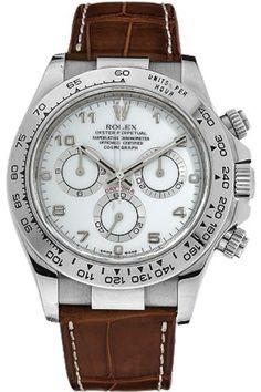 Rolex Daytona White Arabic Dial 18k White Gold Brown Crocodile Mens Watch 116519WAL Rolex, $21,500