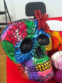 painted skull by crafty chica