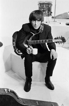 my beautiful George - having a cuppa