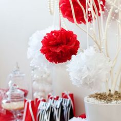 Nothing swings more of a Valentine theme than hanging tissue pom poms in red and white. Mix with pinks for various looks.