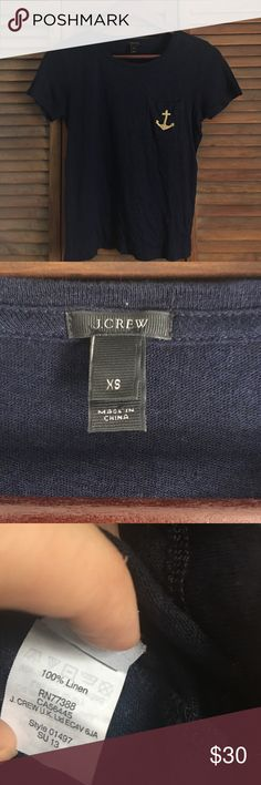 NWOT J. Crew Anchor Pocket Tee  no trades  NWOT. Size XS. 100% linen. Navy Blue tee with gold stitched anchor on pocket. OFFERS ARE WELCOMED.  J. Crew Tops Tees - Short Sleeve