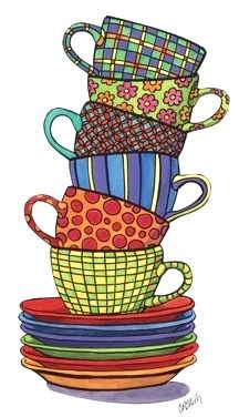 Stacked Cups - Whimsical Art by Carolyn Stitch Wal Art, Coffee Art, Coffee Cup Art, Coffee Shop, Kitchen Art, Kitchen Nook, Whimsical Art, Art Plastique, Doodle Art
